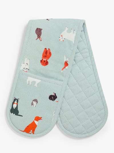 John Lewis & Partners Pet Animal Double Oven Glove, Blue/Multi
