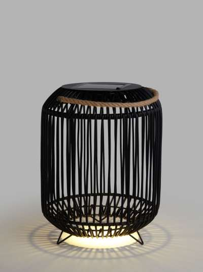 John Lewis & Partners Rattan Solar Powered Garden Lantern, Small