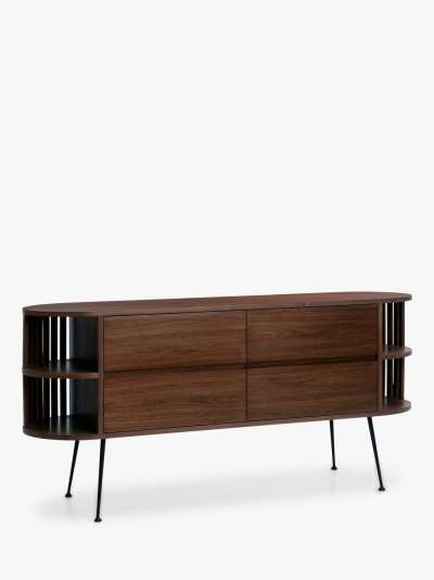 John Lewis & Partners Recap TV Stand Sideboard for TVs up to 55, Walnut