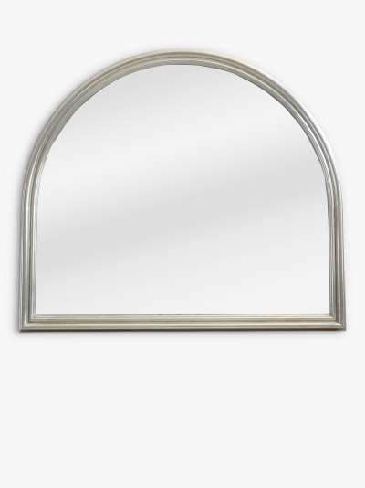 John Lewis & Partners Ribbed Overmantle Mirror, 105 x 120cm, Silver
