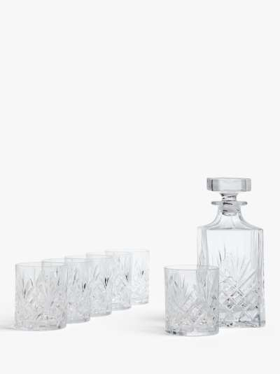 John Lewis & Partners Sirius Crystal Glass Whisky Decanter and Tumblers Set, 7 Piece, Clear