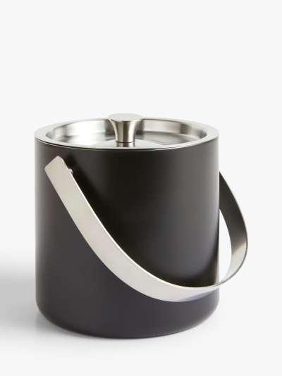 John Lewis & Partners Stainless Steel Ice Bucket, 850ml, Matt Black