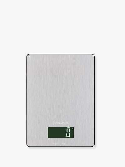 John Lewis & Partners Stainless Steel Platform Digital Kitchen Scale, 5kg, Silver