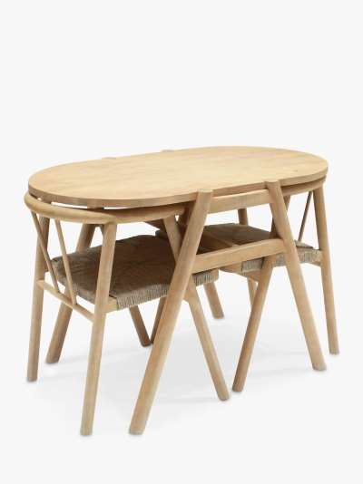 John Lewis & Partners Tuck 2-Seater Garden Dining Table & Chairs Set, FSC-Certified (Acacia Wood), Natural
