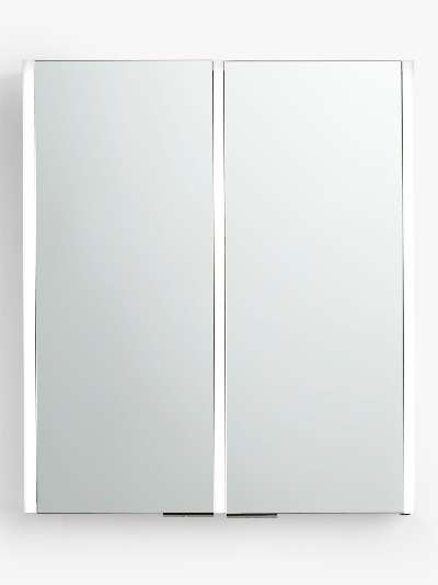 John Lewis & Partners Vertical Double Mirrored and Illuminated Bathroom Cabinet