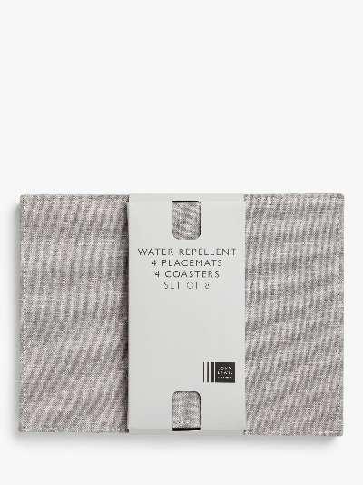 John Lewis & Partners Water Repellant Placemat & Coaster Set, 8 Piece, Grey