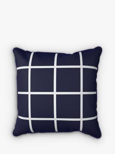 John Lewis & Partners Window Pane Check Print Garden Cushion, 43 x 43cm