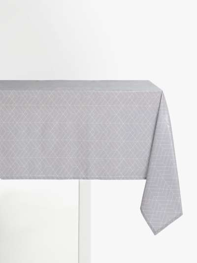 John Lewis & Partners Wipe Clean PVC Geometric Print Tablecloth, Pale Grey