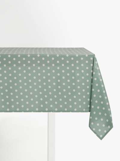 John Lewis & Partners Wipe Clean PVC Spot Print Tablecloth, Dusty Green