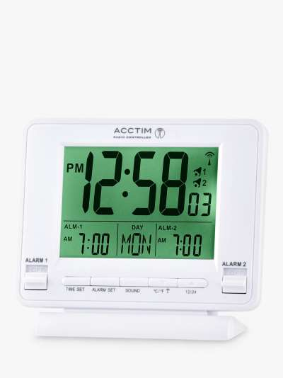 Acctim Delaware Couples Radio Controlled LCD Digital Alarm Clock, White