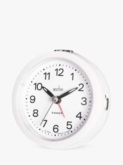 Acctim Elana Silent Sweep Analogue Alarm Clock, White