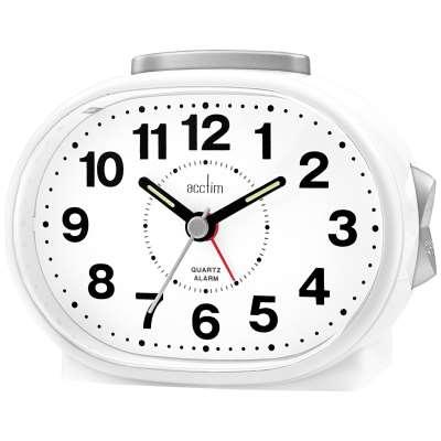Acctim Lila Silent Sweep Analogue Alarm Clock, White