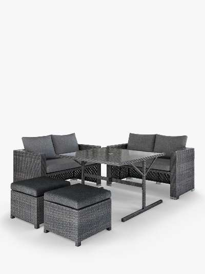 John Lewis & Partners Alora Cube 6-Seat Garden Dining Table & Chairs Set, Brown/Grey