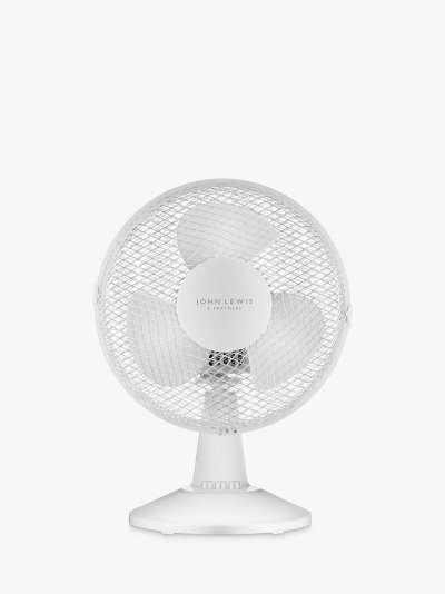 ANYDAY John Lewis & Partners Desk Fan, 12 inch, White