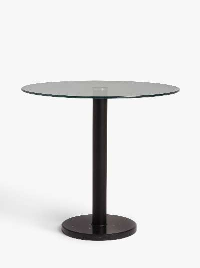 ANYDAY John Lewis & Partners Enzo 2 Seater Glass Round Dining Table, Black Marble