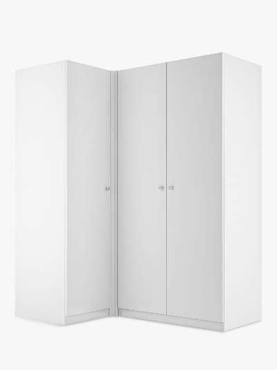 ANYDAY John Lewis & Partners Mix It Corner Wardrobe, Chrome Knob Handles, Matt White