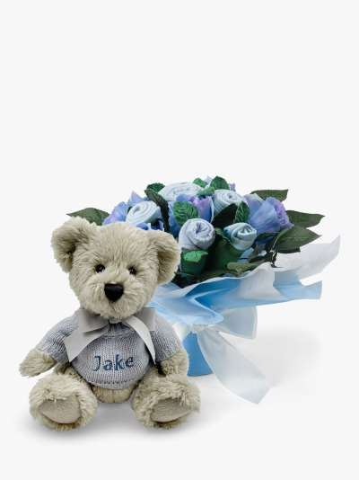 Babyblooms Hand Tied Baby Clothes Bouquet and Personalised Berkeley Bear Soft Toy, Light Blue