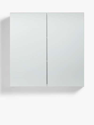 John Lewis & Partners White Gloss Double Mirrored Bathroom Cabinet