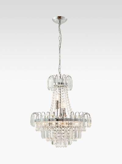 Bay Lighting Loire Chandelier Ceiling Light, Clear/Chrome