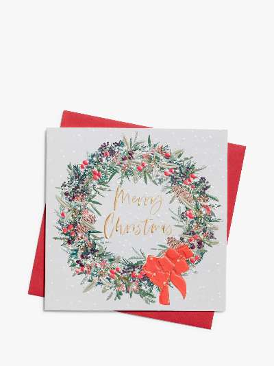 Belly Button Designs Christmas Wreath Christmas Cards, Pack of 8
