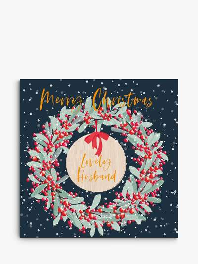 Belly Button Designs Festive Wreath Husband Christmas Card