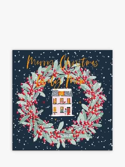 Belly Button Designs House Wreath Mum Christmas Card