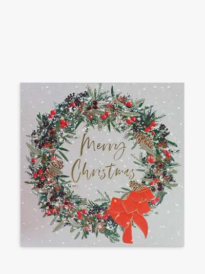 Belly Button Designs Wreath Christmas Card