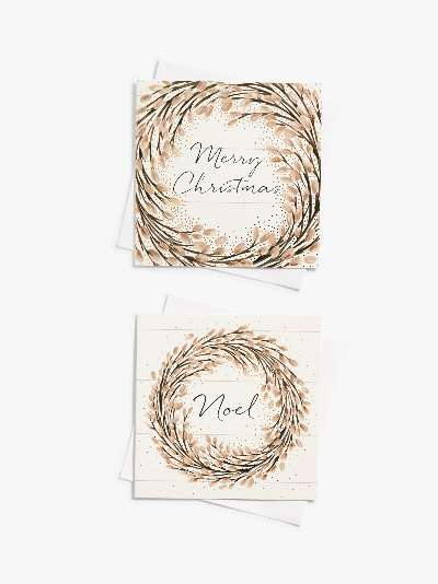 John Lewis & Partners Blush Coast Willow Wreath Large Wallet Charity Christmas Cards, Pack of 10