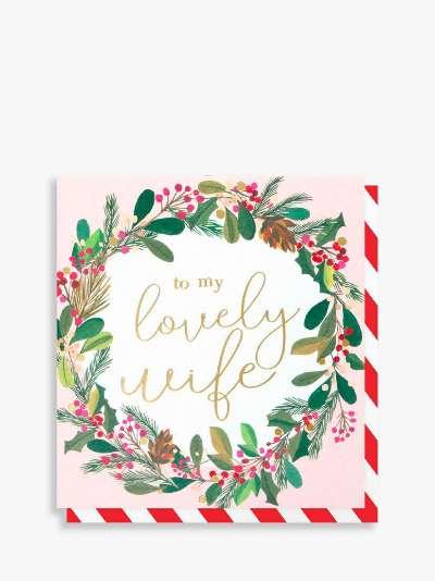Caroline Gardner Wreath Lovely Wife Christmas Card