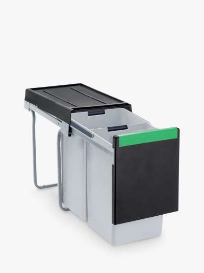 Carron Phoenix Linea 230 Under Counter 2 Section Pull-Out Kitchen Waste Bin, 30L