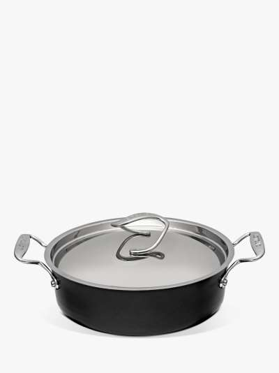 Circulon Style Hard-Anodised Aluminium Non-Stick Stir Fry Wok & Lid, 30cm, Black