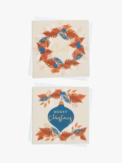 John Lewis & Partners Copper River Wreath & Bauble Large Wallet Charity Christmas Cards, Pack of 10