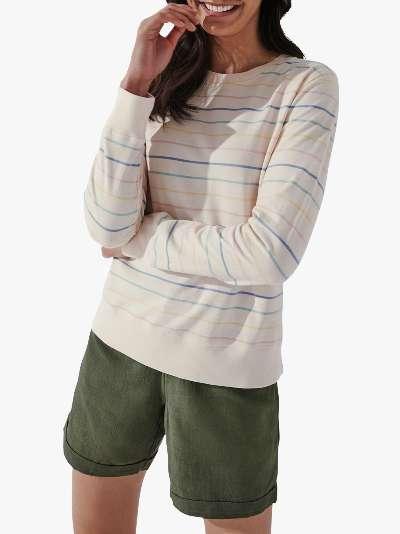 Crew Clothing Pigment Wash Striped Sweatshirt, Pink/Multi