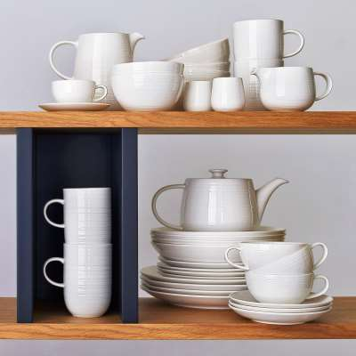 Croft Collection Luna Fine China Teapot, 1.1L, Natural