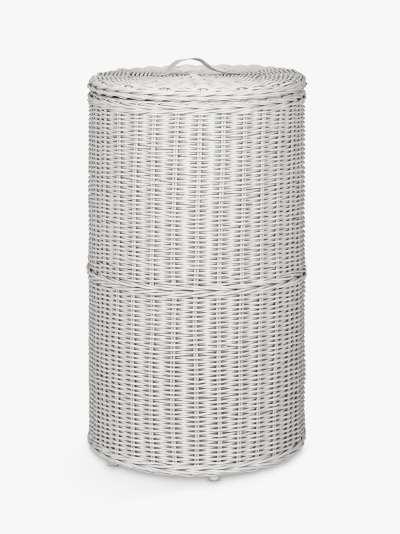 John Lewis & Partners Rattan Round Laundry Basket, Grey