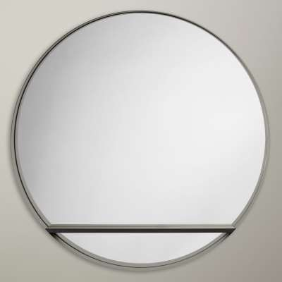 Design Project by John Lewis No.120 Circle Mirror With Shelf, Dia.82.5cm, Black