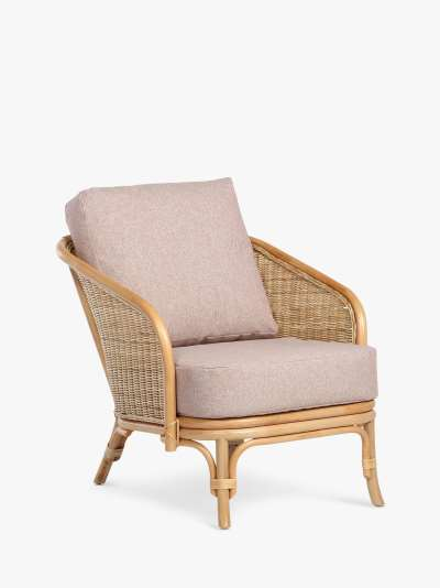 Desser Royal Rattan Cane Lounge Chair, Natural/Pink