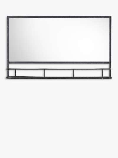 Emerson Metal Frame Shelf Wall Mirror, 63 x 106cm, Black