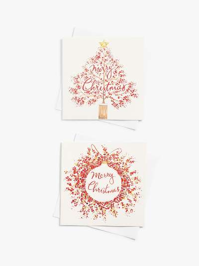 John Lewis & Partners Festive Field Robin Wreath Large Wallet Charity Christmas Cards, Pack of 10