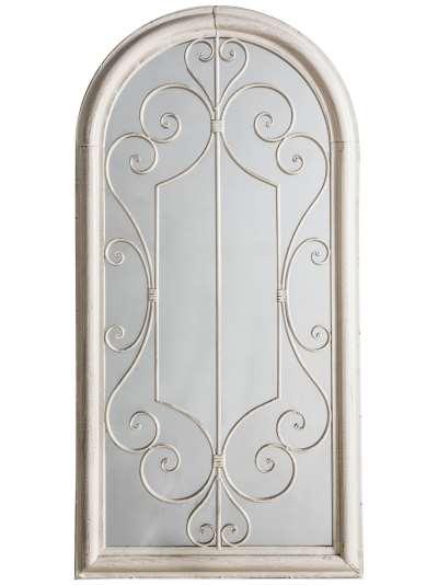 Fleura Outdoor Garden Wall Ornate Arched Mirror, 96.5 x 49cm, Antique Ivory