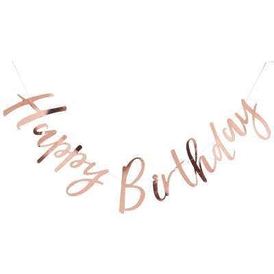 Ginger Ray Happy Birthday Banner Bunting, Rose Gold