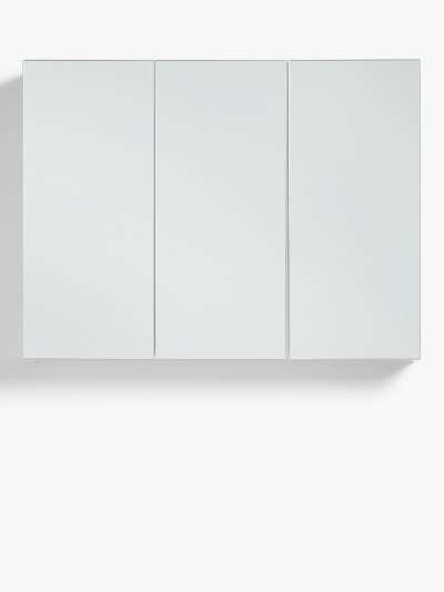 John Lewis & Partners White Gloss Triple Mirrored Bathroom Cabinet