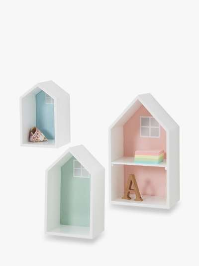 Great Little Trading Co Townhouse Wall Shelves, Set of 3, Multi