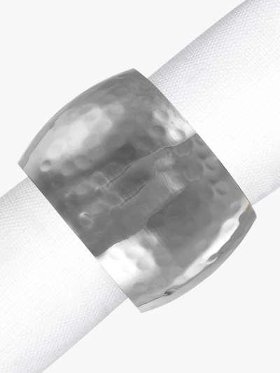 John Lewis & Partners Hammered Napkin Rings, Set of 4, Silver