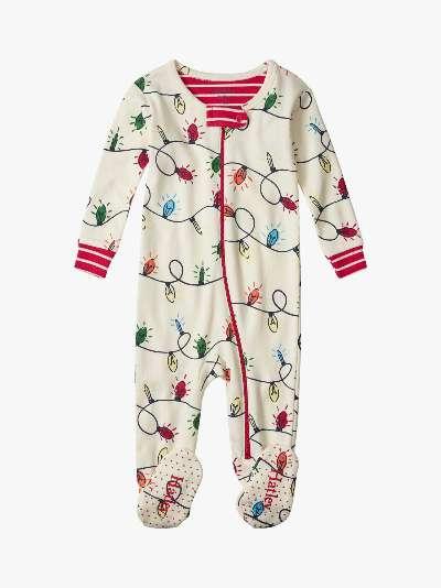 Hatley Baby Organic Cotton Christmas Lights Sleepsuit, Multi
