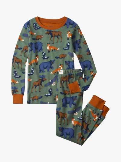Hatley Kids' Animals Print Pyjama Set, Laurel Wreath