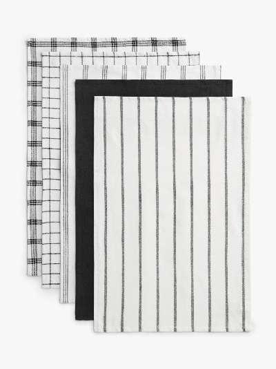 ANYDAY John Lewis & Partners Cotton Tea Towels, Set of 5, Black/White