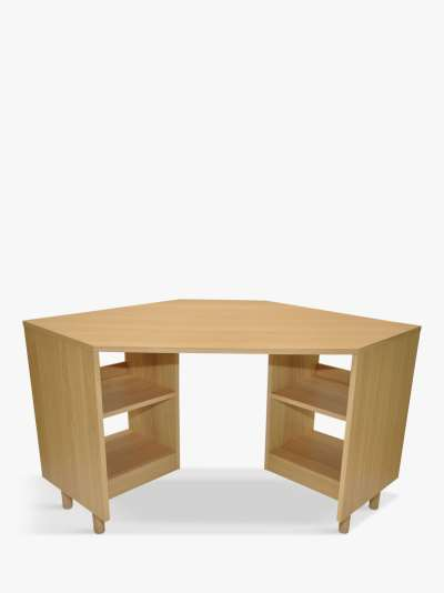 John Lewis & Partners Cube Corner Desk, Natural, FSC Certified (Oak Veneer)