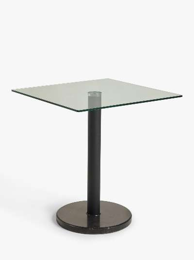ANYDAY John Lewis & Partners Enzo 2 Seater Glass Square Dining Table, Black Marble