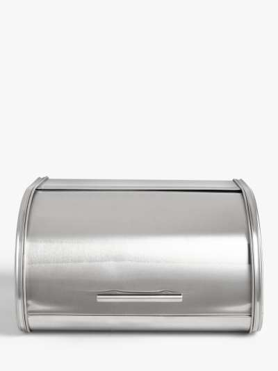 ANYDAY John Lewis & Partners Roll Top Stainless Steel Bread Bin, Silver